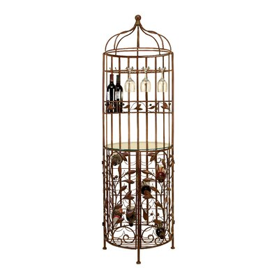 Blueberry Hill Iron and Glass Birdcage 30 Bottle Floor Wine Cabinet