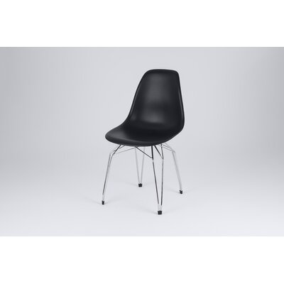 Diamond Side Chair Finish: Black, Frame Finish: Chrome