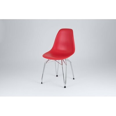 Diamond Side Chair Finish: Red, Frame Finish: Chrome