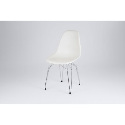 Diamond Side Chair Finish: White, Frame Finish: Chrome