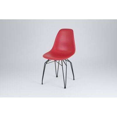 Diamond Side Chair Finish: Red, Frame Finish: Black