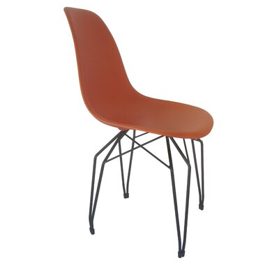 Diamond Side Chair Finish: Orange, Frame Finish: Black