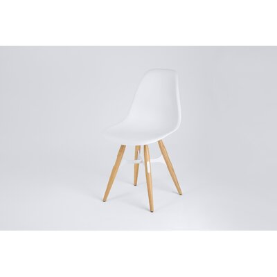 ZigZag Side Chair Finish: White, Frame Finish: Natural