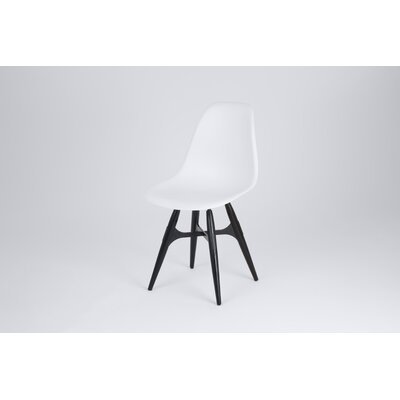 ZigZag Side Chair Finish: White, Frame Finish: Black