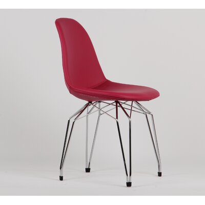 Diamond Genuine Leather Upholstered Dining Chair Upholstery/Finish: Fuchsia/Chrome