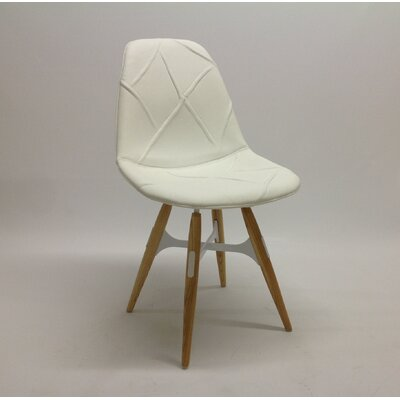 ZigZag Genuine Leather Upholstered Dining Chair Base Finish: White