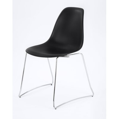 Side Chair Finish: Black, Frame Finish: Chrome