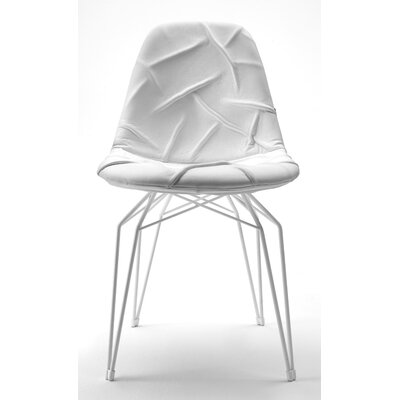 Diamond Genuine Leather Upholstered Dining Chair Base Finish: White