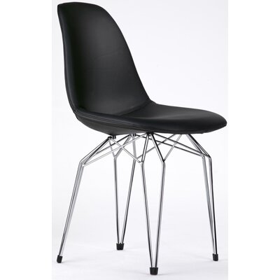 Diamond Genuine Leather Upholstered Dining Chair Upholstery/Finish: Black/Chrome