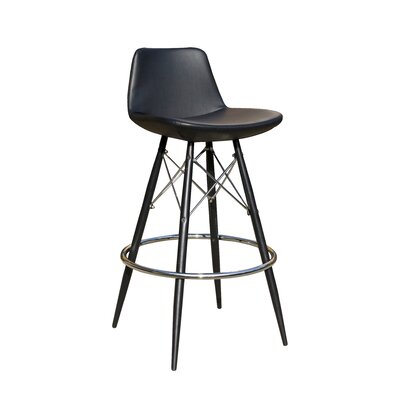 24 Bar Stool Upholstery: Black Faux Leather