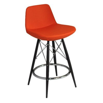 24 Bar Stool Upholstery: Wool-Orange
