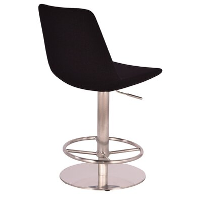 Adjustable Height Swivel Bar Stool Upholstery: Wool - Black