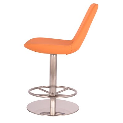 Adjustable Height Swivel Bar Stool Upholstery: Faux Leather - Orange