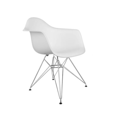 Eula Solid Back Arm Chair (Set of 4) Finish: White