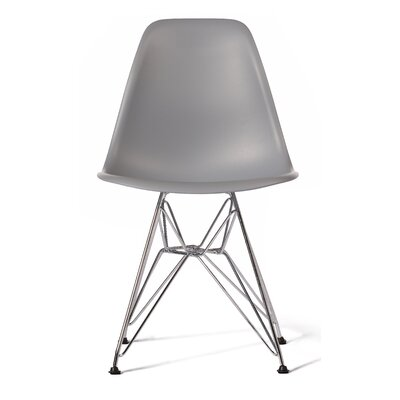 Eula Side Chair (Set of 4) Upholstery: Light Gray, Finish: Black Metal