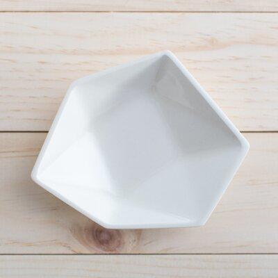 Large Geometric Ring Dish In White