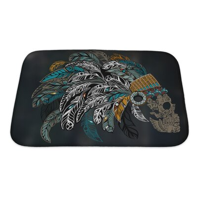 Danger Ornamental�Skull�in�an�Indian�Headdress�Bath�Rug Size: Small