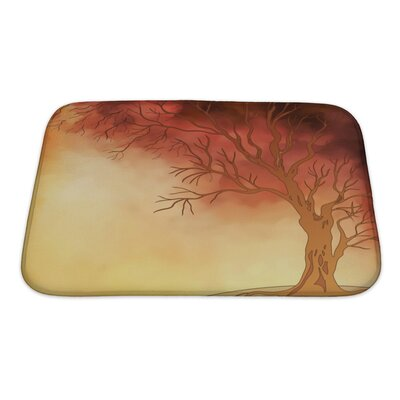 Nature Watercolor Landscape with Autumn Tree Digital Painting Bath Rug Size: Small