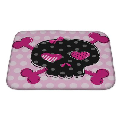 Danger Cute Aggressive Girlish Skull Bath Rug Size: Small
