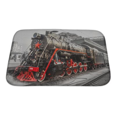 Vintage Old Steam Locomotive, Vintage Train Bath Rug Size: Small