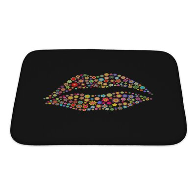 Human Touch Lips Shape Made Up a Lot of Small Flowers Bath Mat/Rug Size: Small