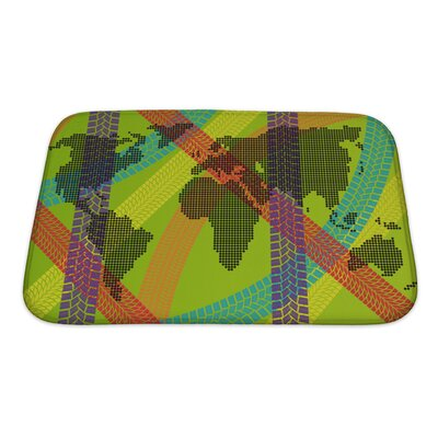 Earth Colorful Ecology Energy Tire Footprint World Map Concept Bath Rug Size: Small