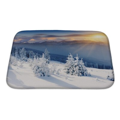 Landscapes Majestic Sunset in the Winter Mountains Landscape Dramatic Sky Bath Rug Size: Small