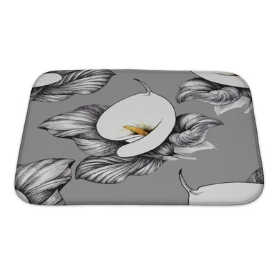 Flowers Calla Lilly Floral Bath Rug Size: Small, Color: Gray