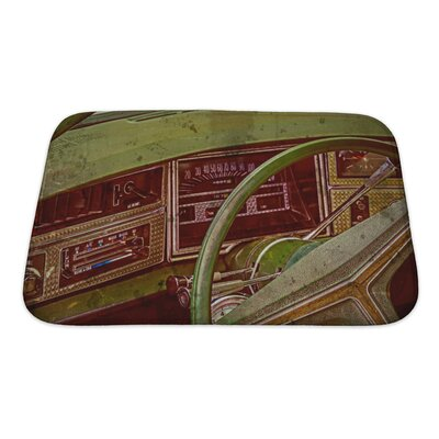 Vintage Old Postcard with Drivers Cockpit of a Vintage Classic Car Bath Rug Size: Small
