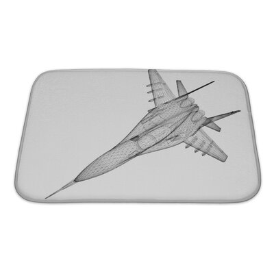 Aircraft Fighter Plane Model, Body Structure, Wire Model Bath Rug Size: Small, Color: Gray