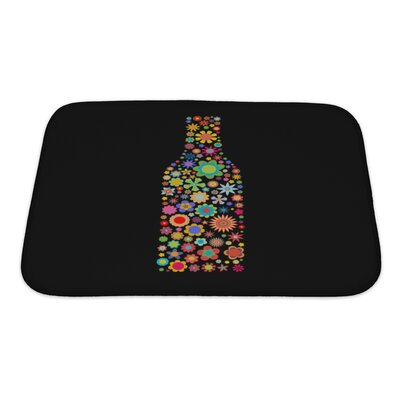 Flowers Bottle Shape Made Up a Lot of Multicolored Small Flowers Bath Rug Size: Small