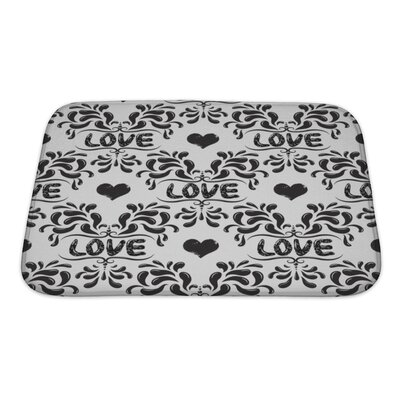 Delta Damask Pattern with Love Word Bath Rug Size: Small