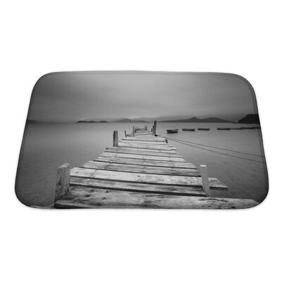 Wood Looking Over a Pier and Boats Bath Rug Size: Small