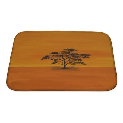 Nature Acrylic Acacian in Africa by a Private Painter Bath Rug Size: Small