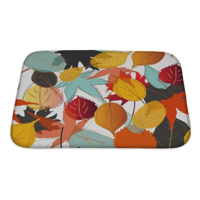 Leaves Leaf with Warm Colors of Autumn Bath Rug Size: Small
