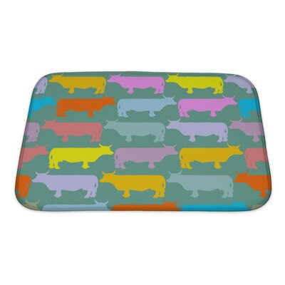 Animals Colored Cows Herd Ornament of Animals Bath Rug Size: Small