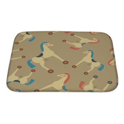 Animals Retro Styled Toy Horse Pattern Bath Rug Size: Small
