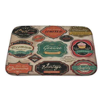 Vintage Collection of Vintage Retro Grunge Labels, Badges and Icons Bath Rug Size: Small