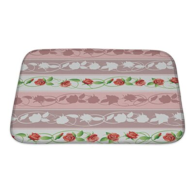 Primo Flowers and Leaves Bath Rug Size: Small