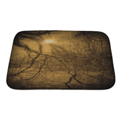 Wood Grunge Image of Dark Forest, Perfect Halloween Bath Rug Size: Small