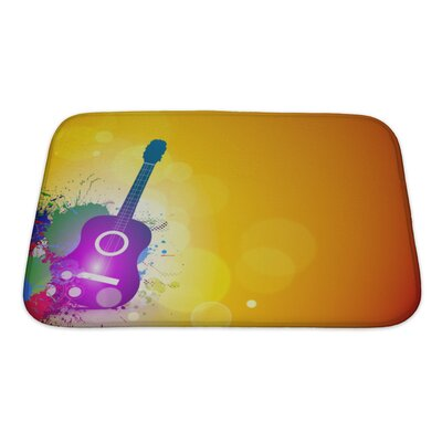 Instruments Music Notes with Guitar Player Bath Rug Size: Small