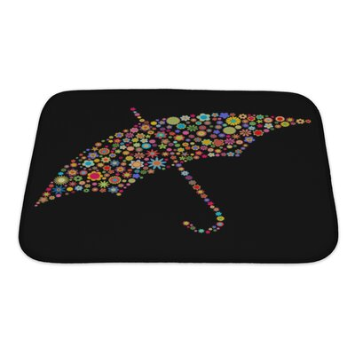 Flowers Umbrella Shape Made Up a Lot of Multicolored Small Flowers Bath Rug Size: Small