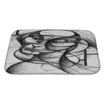 Art Hard Pen and Ink Portrait in Modern Style Bath Rug Size: Large