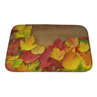 Leaves Autumn with Colored Leaves on Wooden Board Bath Rug Size: Small