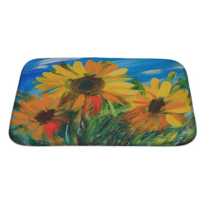 Flowers Sunflowers Drawn by Oil on Canvas Bath Rug Size: Large