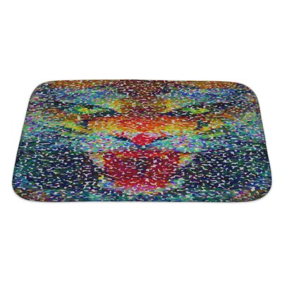 Animals Abstract Tiger Geometric Hipster Poster in Pointillism Style Bath Rug Size: Large, Color: Blue