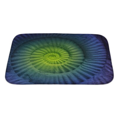 Marine Abstract Colors of Ammonite Prehistoric Fossil Bath Mat/Rug Size: Large