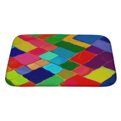 Bravo Abstract Painting Colorful Mozaic Geometric Pattern Bath Rug Size: Large