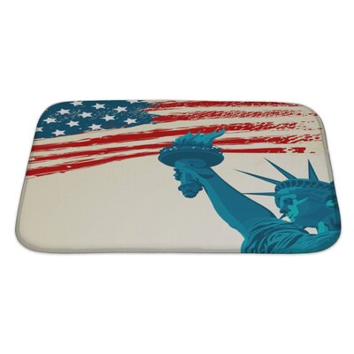 Patriotic Grunge American Flag with the Statue of Liberty Bath Rug Size: Large