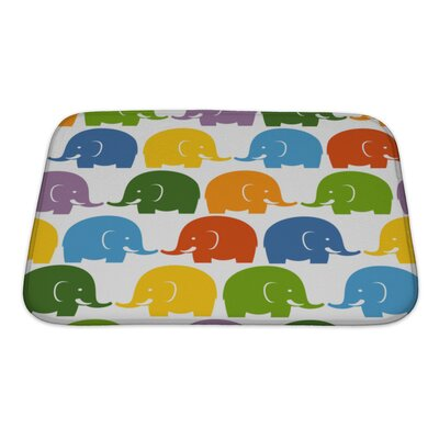 Animals Colorful Elephants Pattern Bath Rug Size: Small